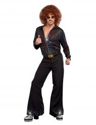 Camisa luxo Disco lantejoulas coloridas homem