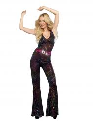 Disfarce luxo Disco brilhantes coloridos mulher