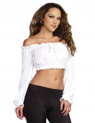 Top branco curto mangas compridas mulher