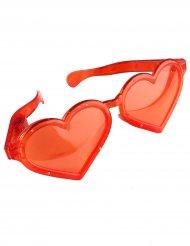 Óculos gigantes coração vermelho luminoso adulto