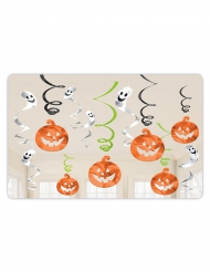 12 Decorações para pendurar abóboras e fantasmas Halloween