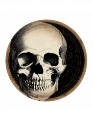10 Pratos de cartão Crânio de Halloween