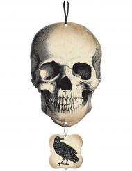 Cartaz caveira e corvo brilhante Halloween