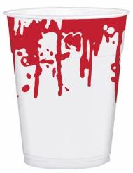 25 Copos de plástico manchas de sangue Halloween
