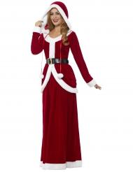 Disfarce vestido comprido com capuz luxo mulher Natal