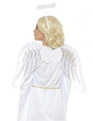 Kit anjo branco com asas e auréola adulto
