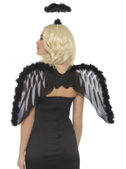 Kit anjo preto com asas e auréola