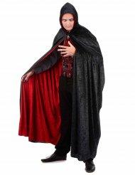 Capa vampiro veludo vermelha e preta reversível criança