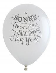 8 Balões brancos Happy New Year