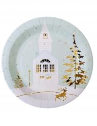 10 Pratos de cartão aldeia de Natal