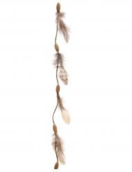 Grinalda penas e madeira 116 cm