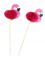 12 palitos flamingo rosa 17.5 cm