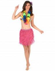 Saia havaiana curta cor-de-rosa papel adulto