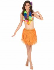 Saia havaiana curta laranja papel adulto