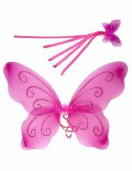 Asas de borboleta rosa e varinha mágica kitt - criança!