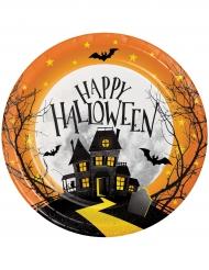 8 Pequenos pratos de cartão Casa assombrada Halloween