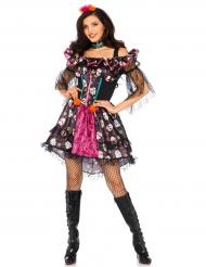 Disfarce boneca colorida mulher Dia de los muertos