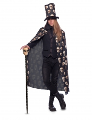 Capa caveira com chapéu alto adulto Halloween