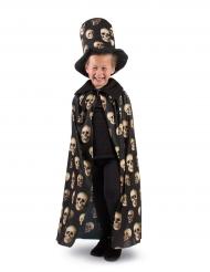 Capa e chapéu com caveiras criança Halloween