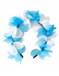 Coroa de flores azuis e brancas