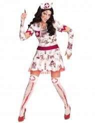 Disfarce enfermeira zombie mulher Halloween