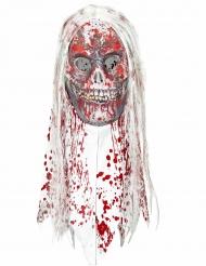 Máscara de zombie sangrento com cabelo para adulto Halloween
