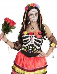 Bandolete flores coloridas e fitas Dia de los muertos