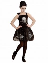 Disfarce dançarina esquelto preto menina Halloween