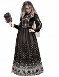 Disfarce esqueleto gótico preto mulher Halloween
