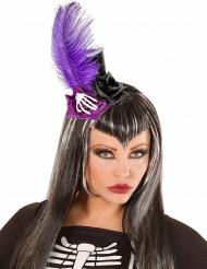 Mini chapéu alto preto e lilás adulto Dia de los muertos