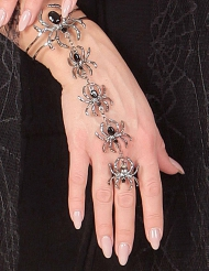 Pulseira e anel aranha mulher Halloween