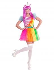 Disfarce unicórnio arco-íris mulher