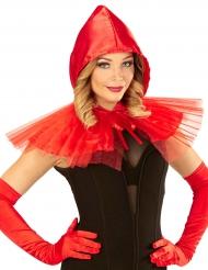 Mini capa vermelha com capuz mulher