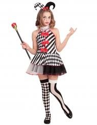 Disfarce arlequom xadrez menina