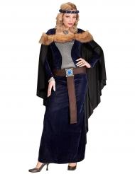 Disfarce princesa medieval com pele sintética mulher