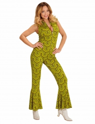 Disfarce macacão groovy verde anos 70