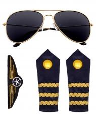 Kit acessórios piloto de linha aéria adulto