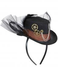 Chapéu com véu preto adulto Steampunk