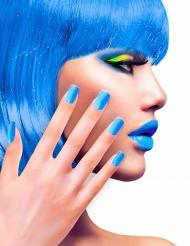 Unhas falsas adesivas azuis adulto