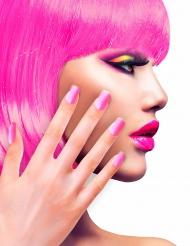 Unhas falsas adesivas cor-de-rosa adulto
