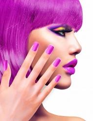 Unhas falsas adesivas violeta adulto