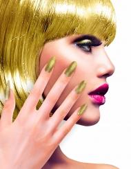 Unhas falsas adesivas douradas brilhantes adulto