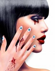 Unhas falsas adesivas olhos adulto Halloween
