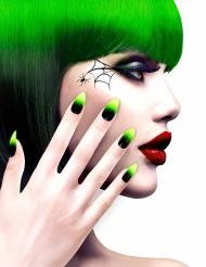 Unhas falsas adesivas pretas e verdes adulto