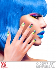 Unhas falsas adesivas patchwork fluo adulto