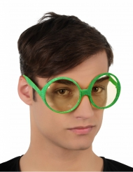 Óculos redondos brilhantes verdes adulto