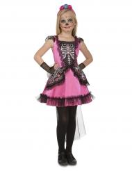 Disfarce dama rosa menina Dia de los muertos