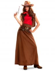 Disfarce cowgirl vestido comprido mulher