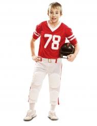 Disfarce jogador de futebol americano vermelho menino