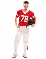 Disfarce Futebolista americano vermelho adulto